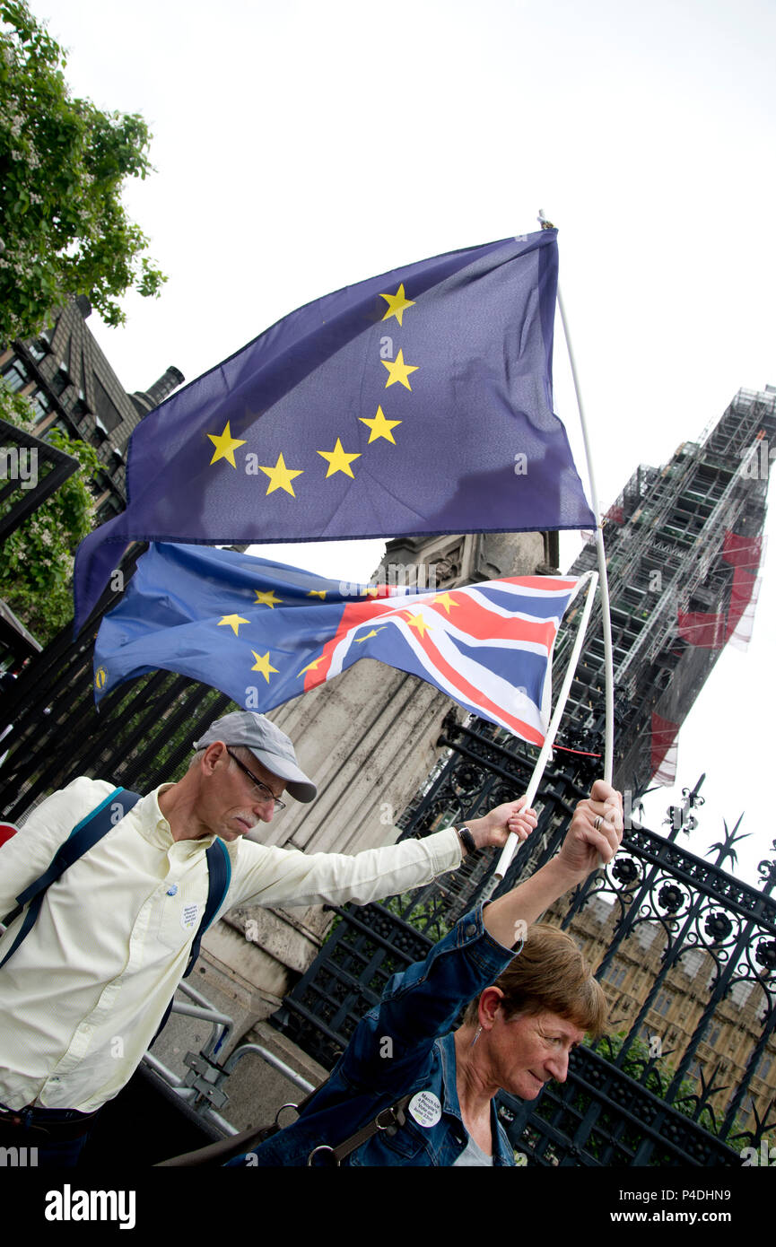 Protesters outside Parliament, Westminster, London as Members of Parliament debate the European Union withdrawal bill, June 20th 2018. Protester wave  - Stock Image