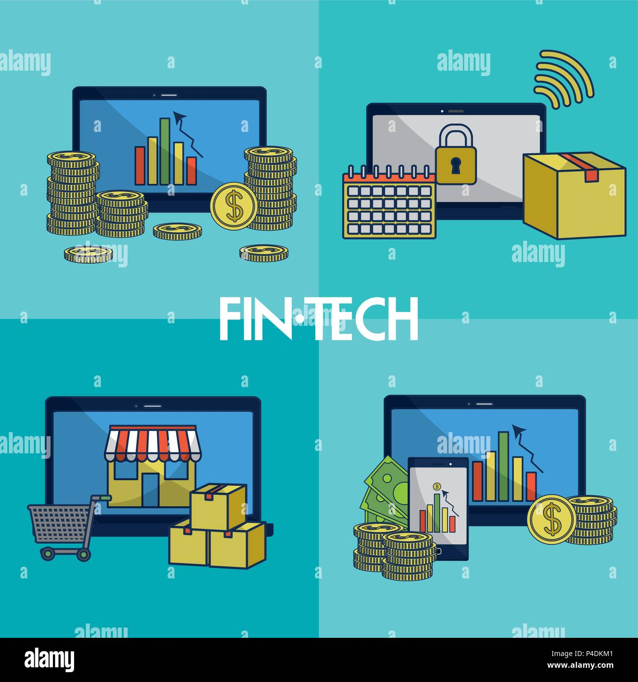 Financial technology square frames - Stock Image