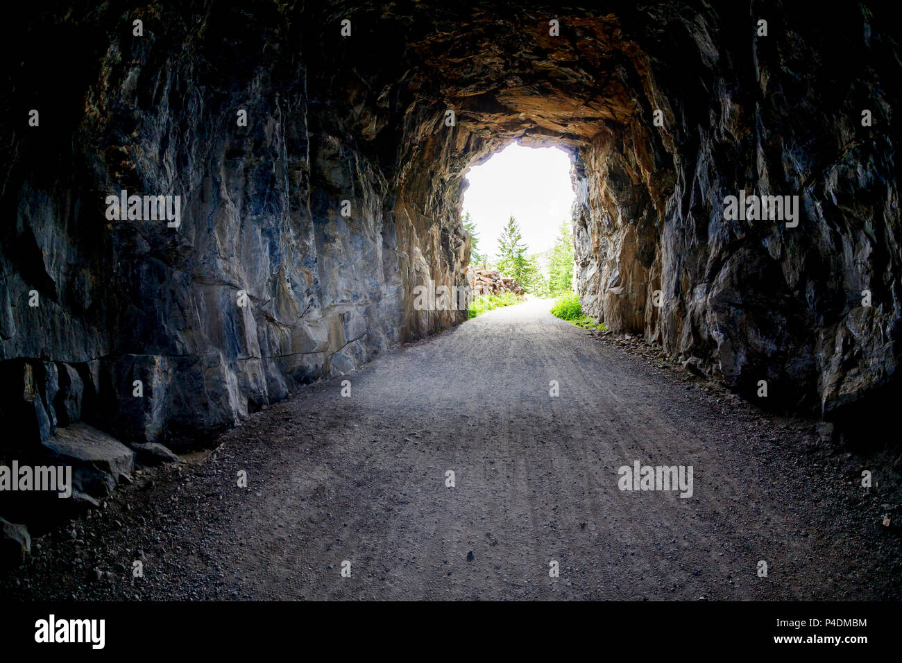 Light at the end of the tunnel at Myra Canyon in Kelonwa, British Columbia, Canada. Concept of conquering adversity or success through obstacles. - Stock Image