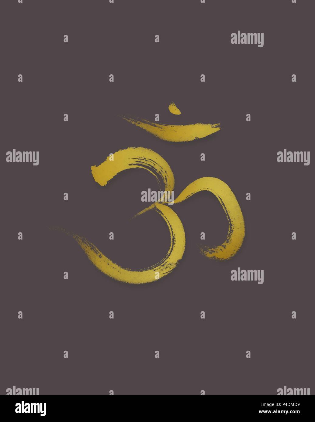Sanscrit Sacred Symbol Om Or Aum In Yoga Spiritual Icon Golden