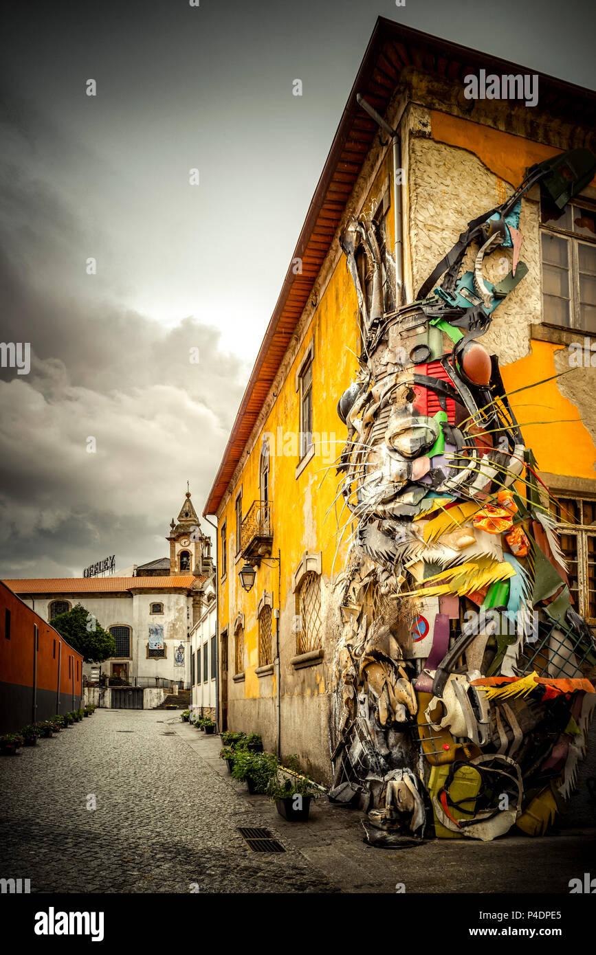 Europa, Portugal, Porto, Stadtteil, Altstadt, Douro, Stadteil, Vila Nova, Kunst - Stock Image
