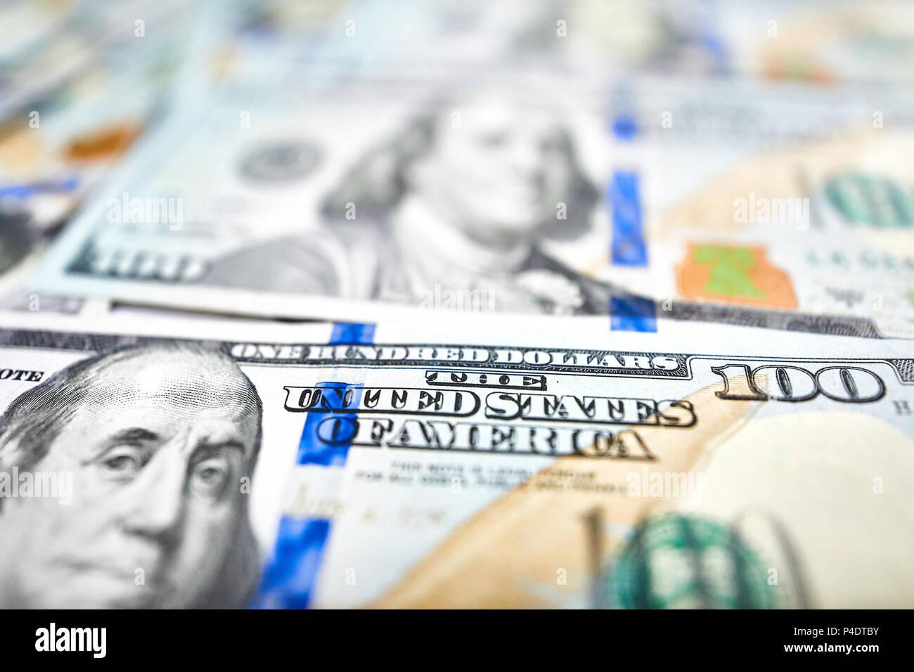Background of 100 dollar bills. Money american hundred dollar bi - Stock Image
