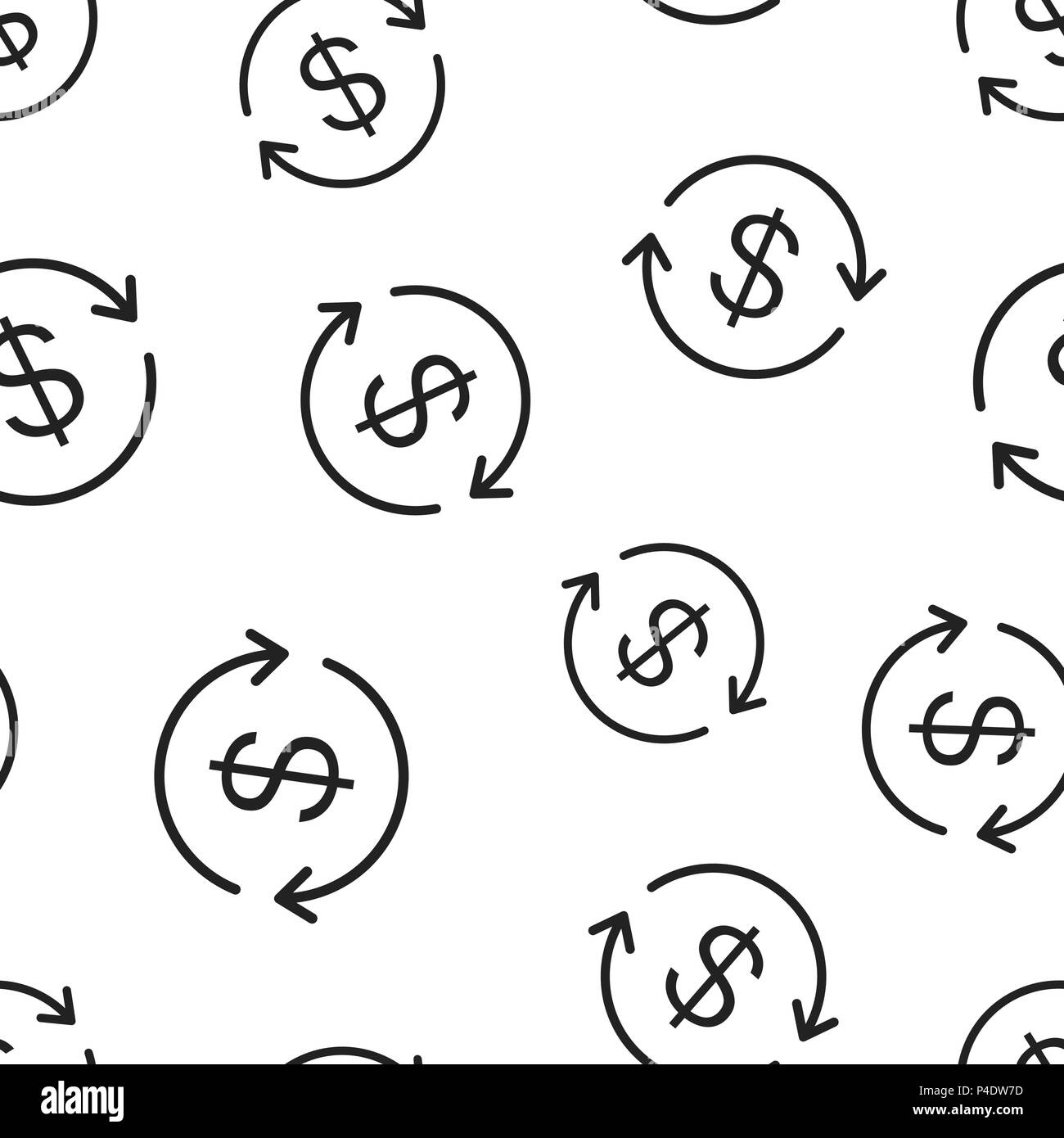 Money Dollar With Arrow Icon Seamless Pattern Background Business