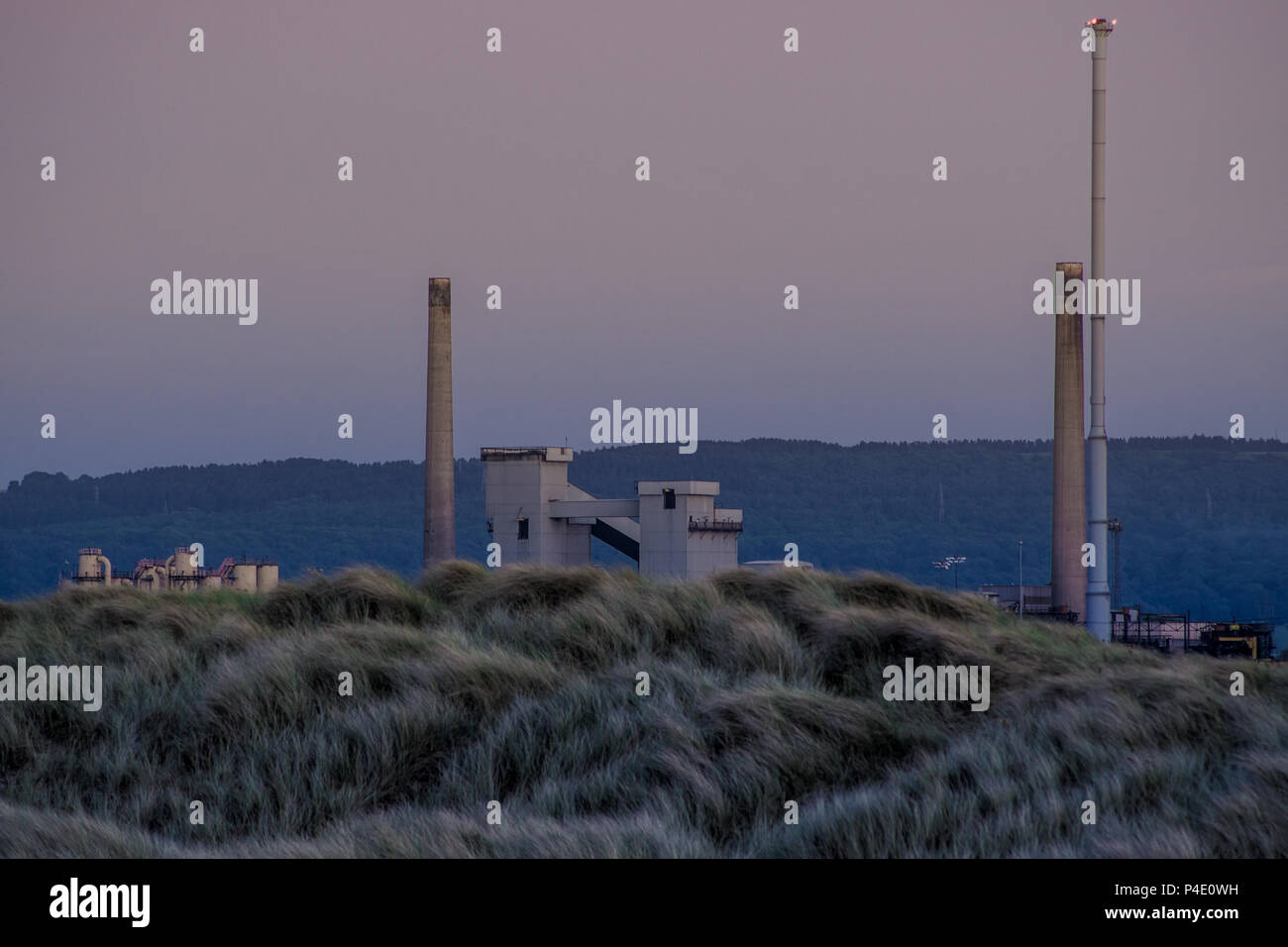 Industrial background by the north east coast of England. South Gare at Redcar. Stock Photo