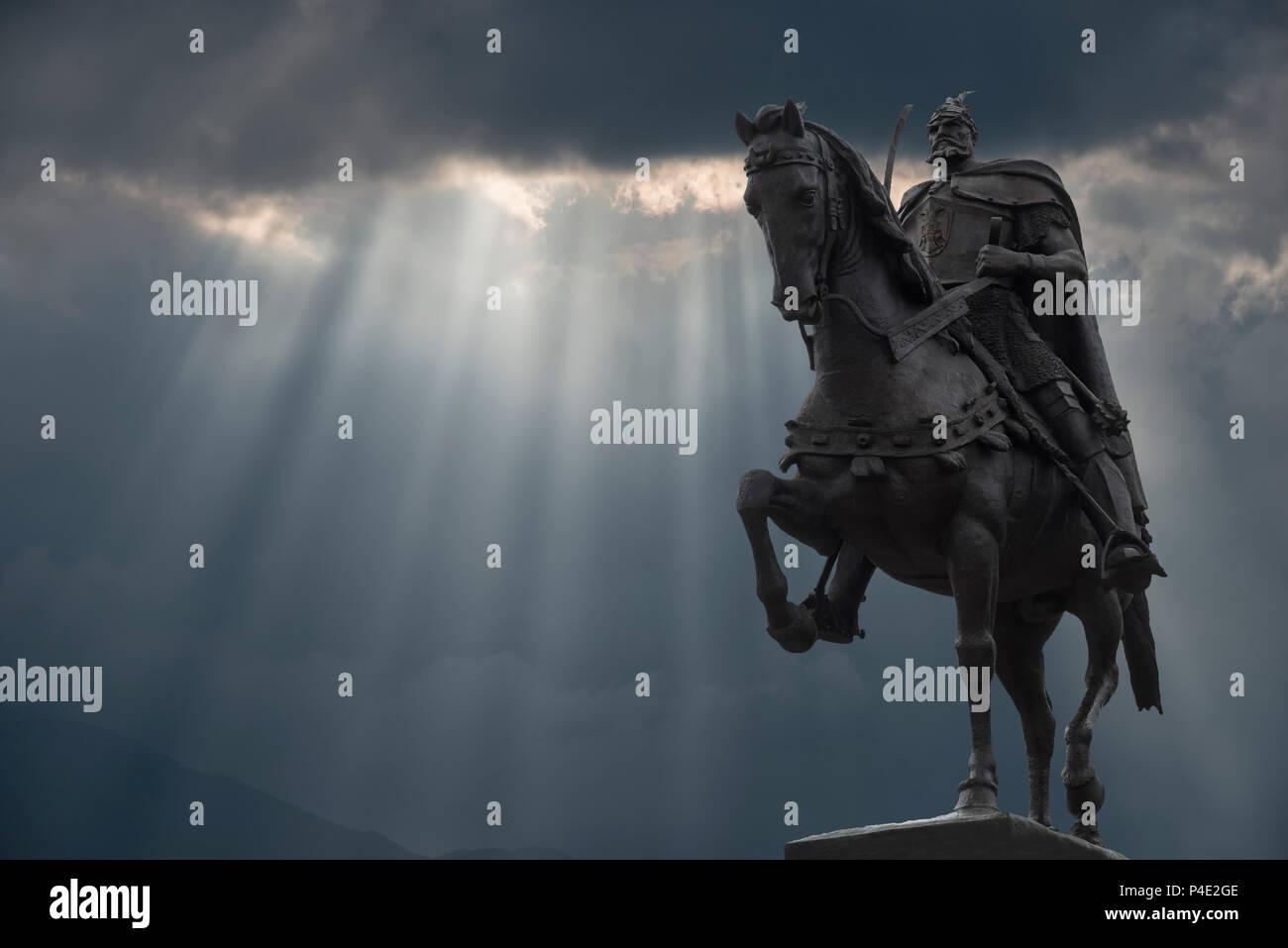 Skanderberg Equestrian statue, Tirana, Albania - Stock Image