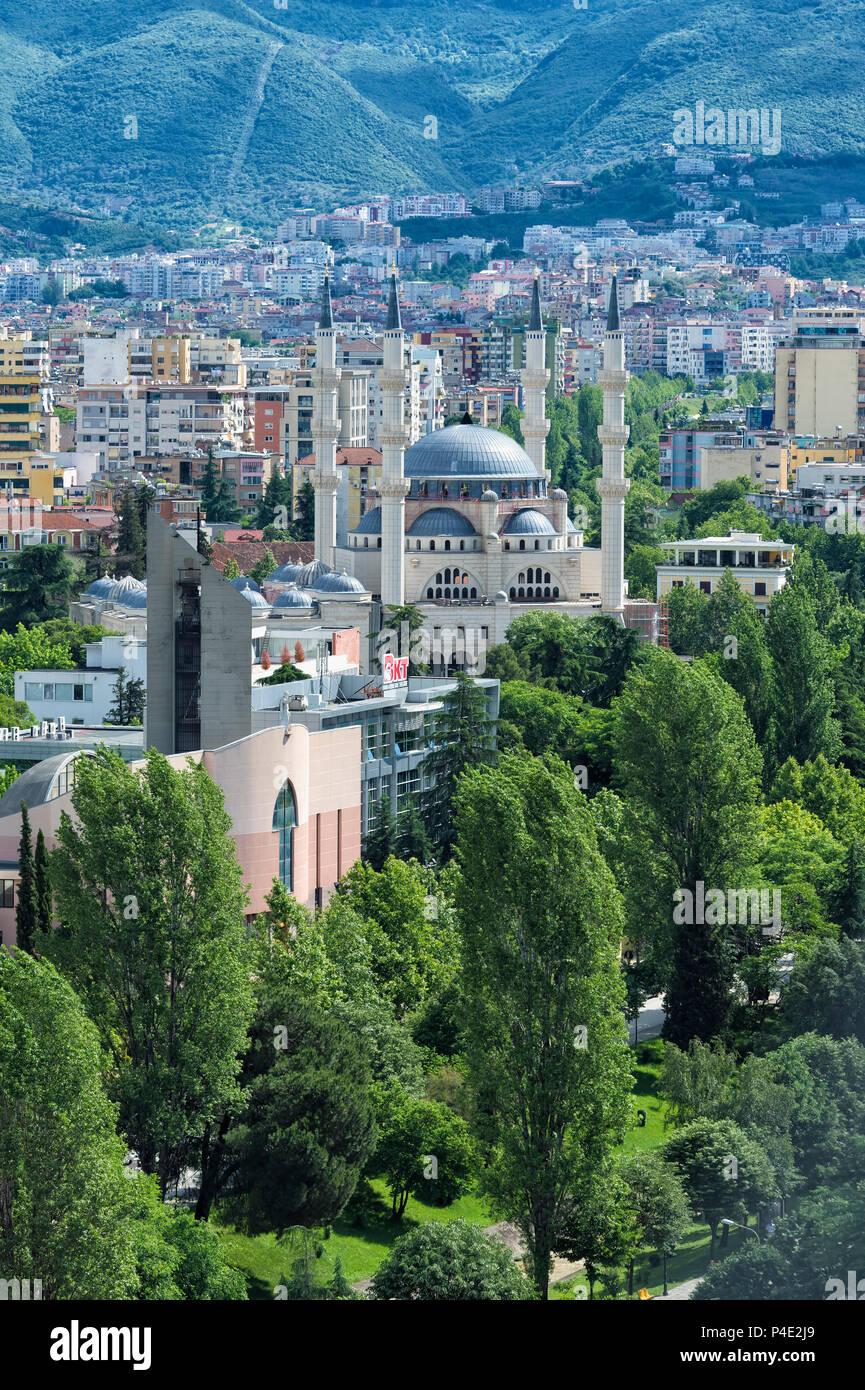 View over Tirana and the new Mosque, Tirana, Albania - Stock Image