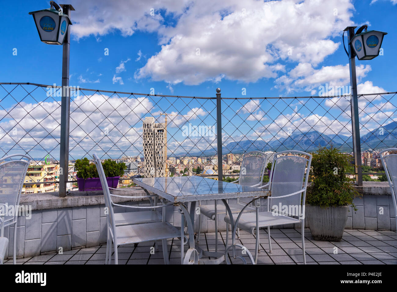 View over Tirana downtown from Sky Tower cafe, Tirana, Albania - Stock Image