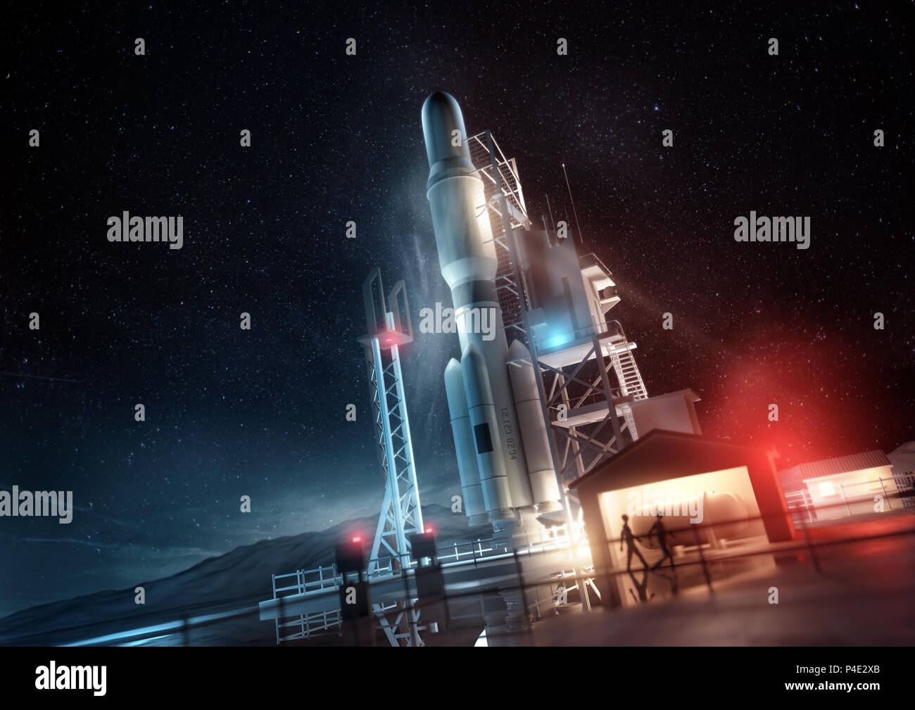 A large space rocket ready for launch at night. 3D illustration concept. - Stock Image