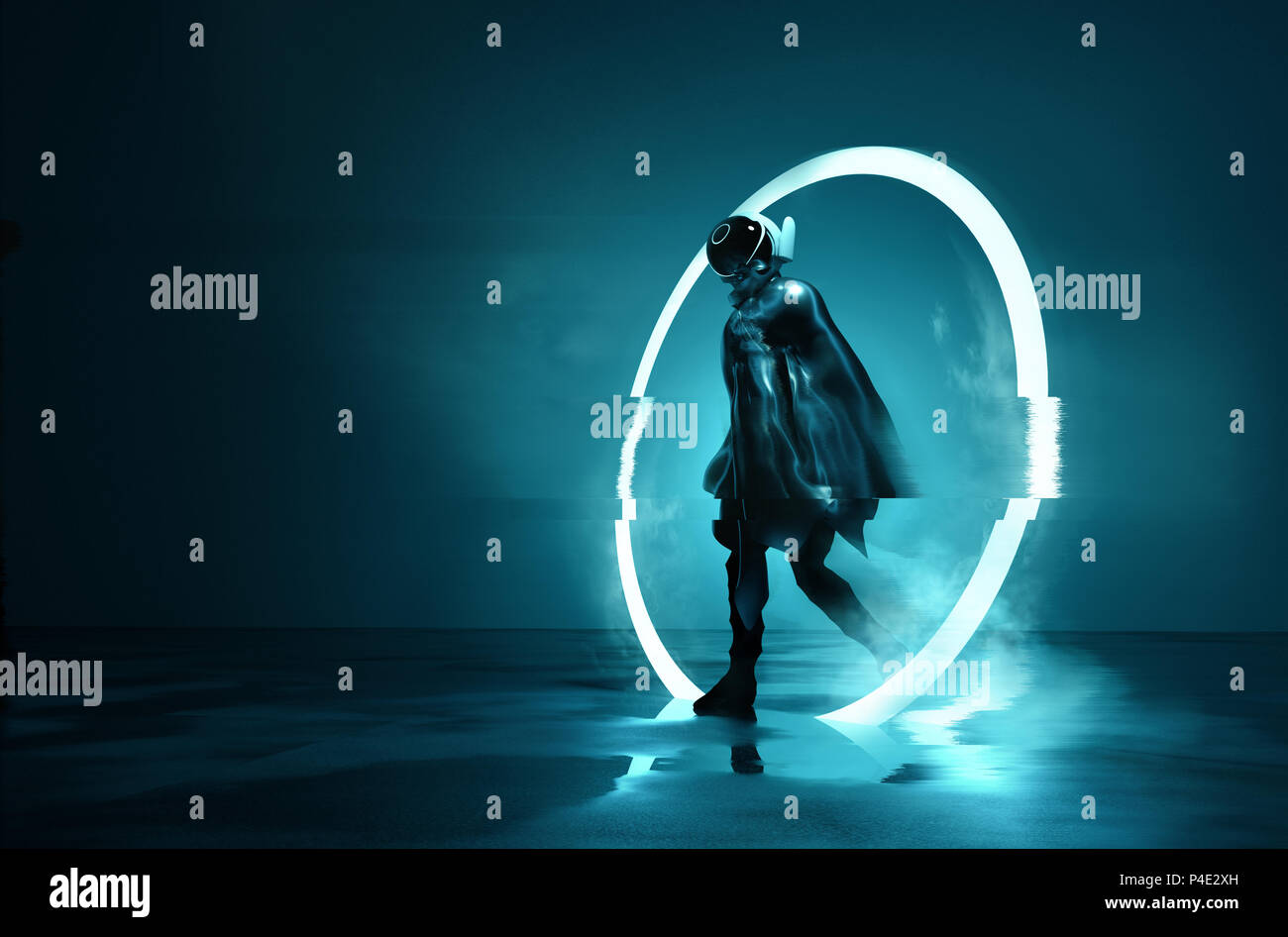 Exiting The Void. A futuristic Space astronaut exiting a glowing loop through time. Conceptual 3D Illustration. - Stock Image