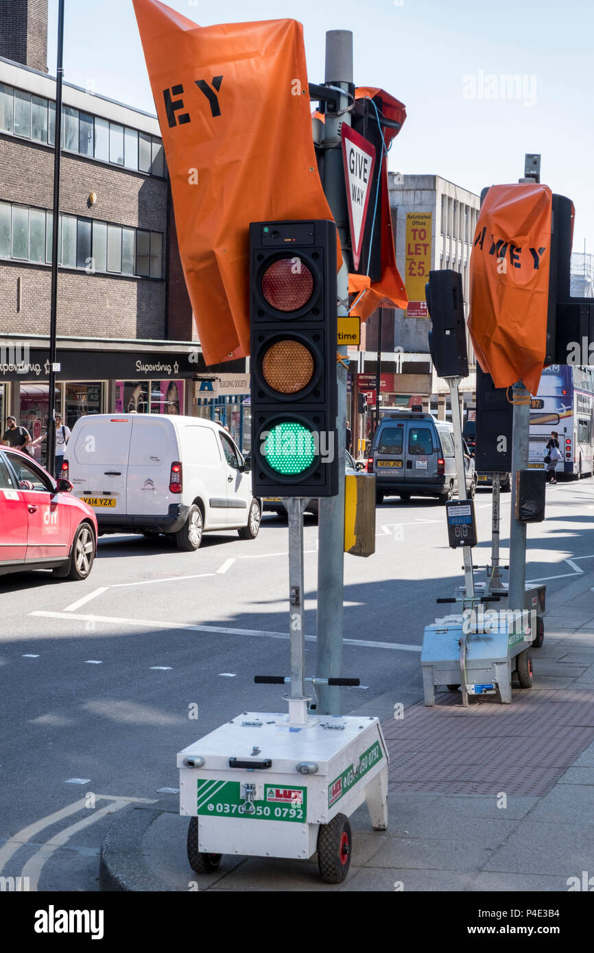 Temporary traffic lights, Sheffield, England, UK - Stock Image