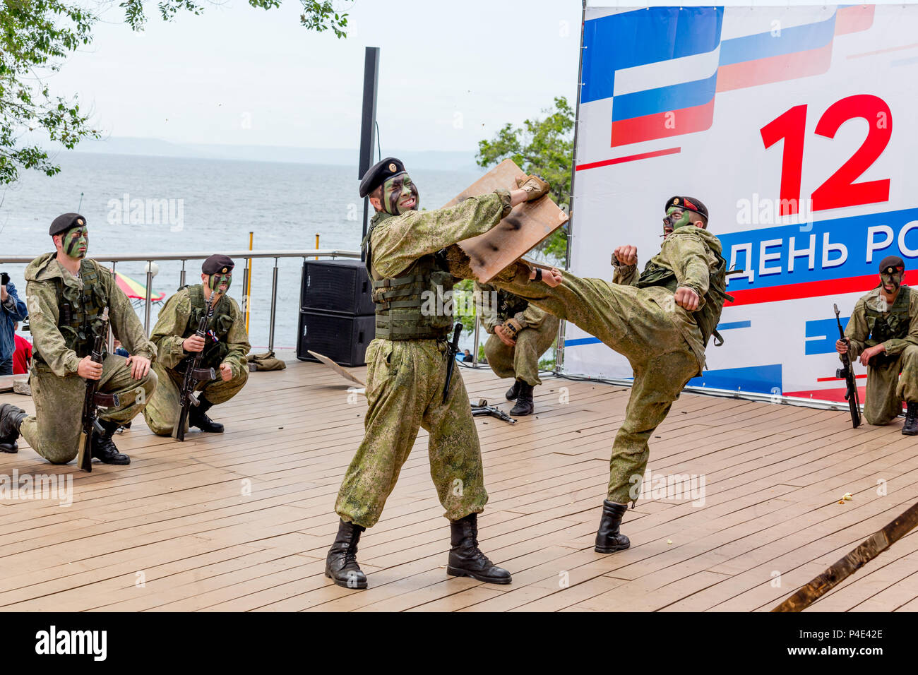 Russia, Vladivostok, 05/09/2018. Armed soldiers of Russian Army's Special Forces perform on stage in a honor of Russia Day. Annual celebration Russia  - Stock Image
