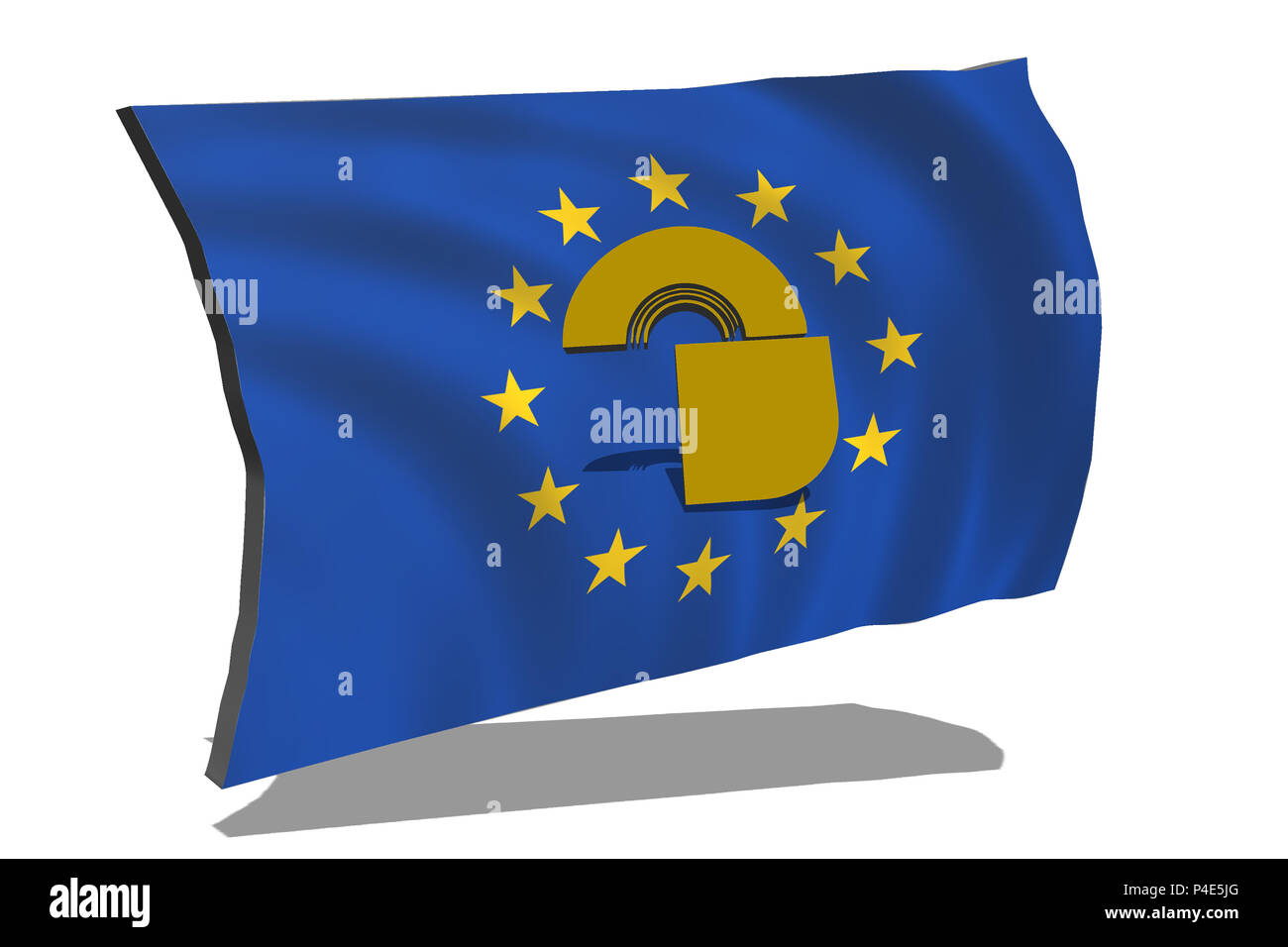 Eu flag with lock. Concept General Data Protection Regulation - DSGVO - Stock Image