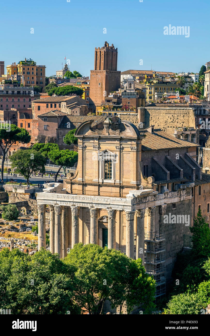 Temple of Antoninus and Faustina - Stock Image