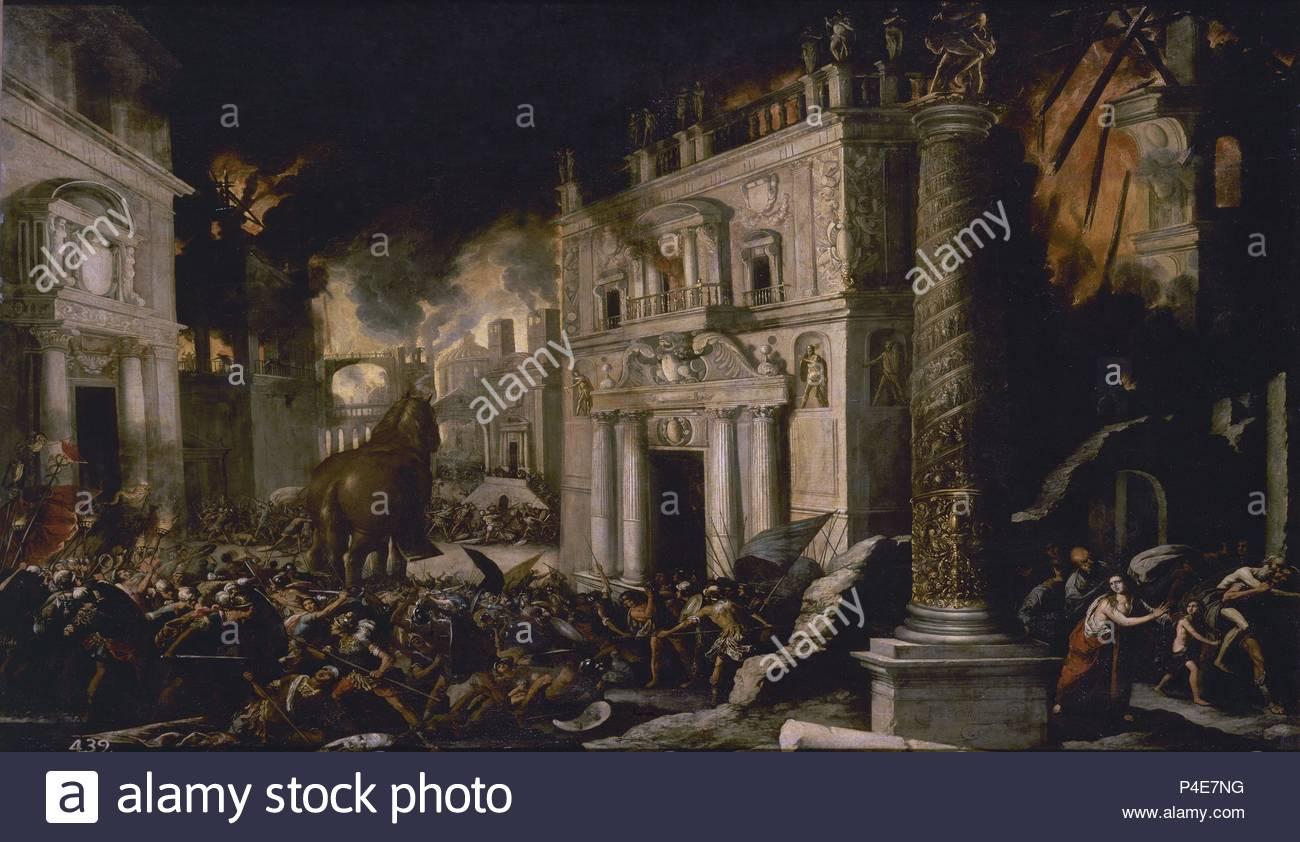 Spanish school . The fire of Troy. El incendio de Troya. Oil on canvas (145 x 197 cm). Madrid, El Prado. Author: Francisco Collantes (1599-1656). Location: MUSEO DEL PRADO-PINTURA, MADRID, SPAIN. - Stock Image