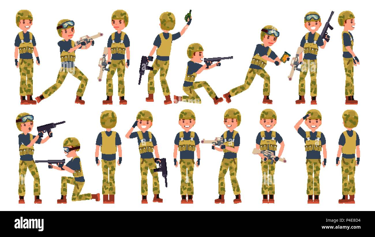 Soldier Male Vector. Different Poses. Military People In Action. Camouflage Uniform. Army. Cartoon Character Illustration - Stock Vector