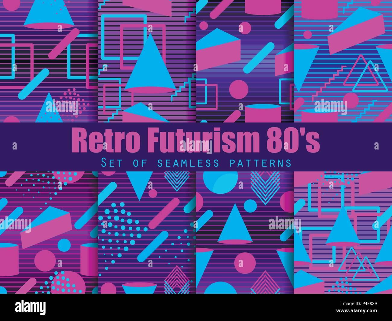 Retro futurism seamless pattern set  Geometric elements