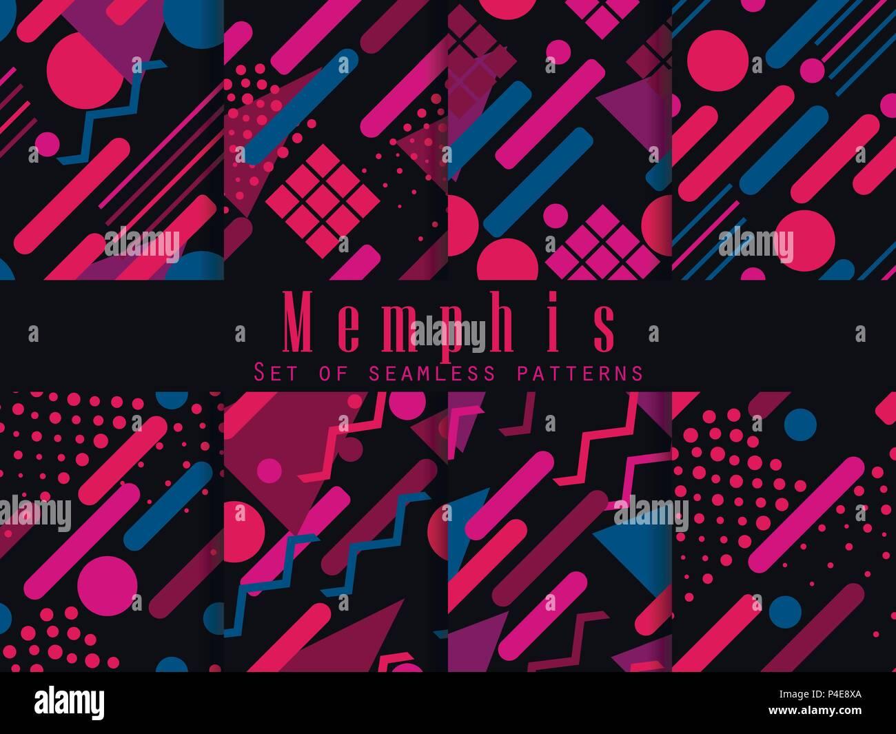 Memphis seamless pattern  Geometric elements memphis in the