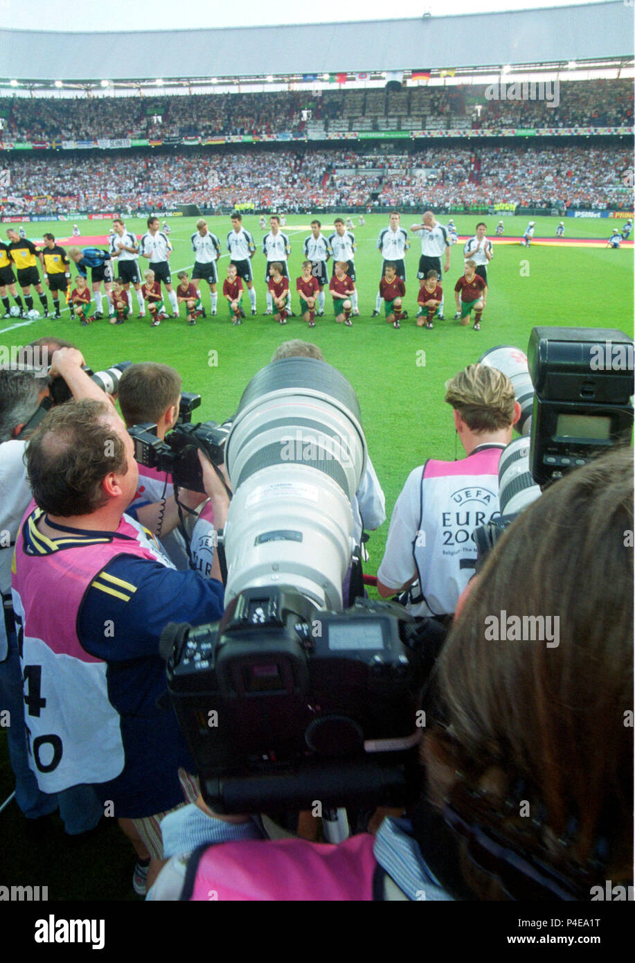 a002266ef6c Feijenoord Stadion, Rotterdam the Netherlands 20.06.2000, Football EURO 2000  Championship, Portugal vs. Germany 3:0 --- sports photographers point their  ...