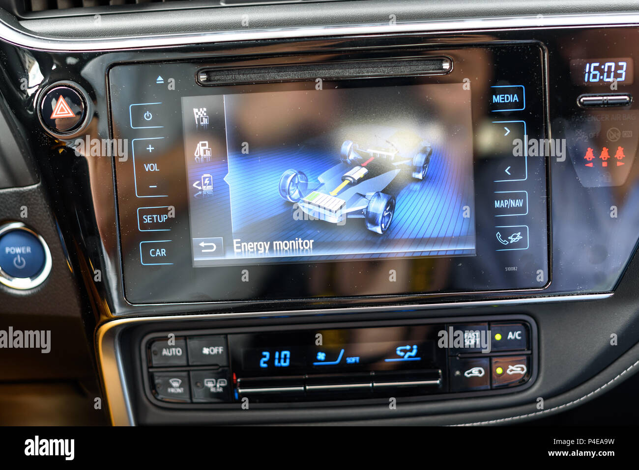 KAUNAS, LITHUANIA - JUNE 16, 2018: Interior of a new Toyota Auris hybrid car. Energy monitor. - Stock Image