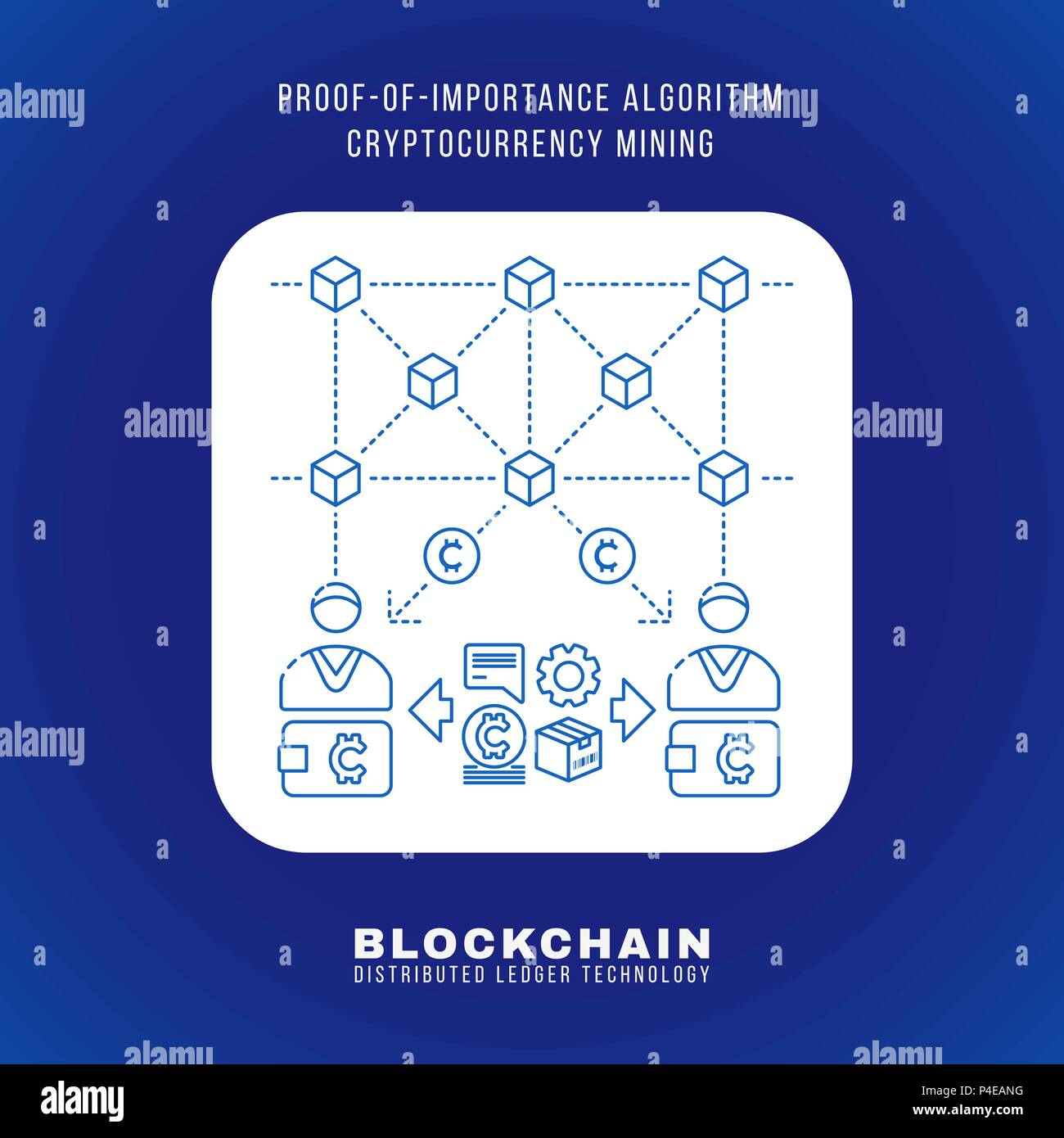 Vector Outline Design Blockchain Proof Of Importance Algorithm Cryptocurrency POI Mining Principle Explain Scheme Illustration White Rounded Square Ic