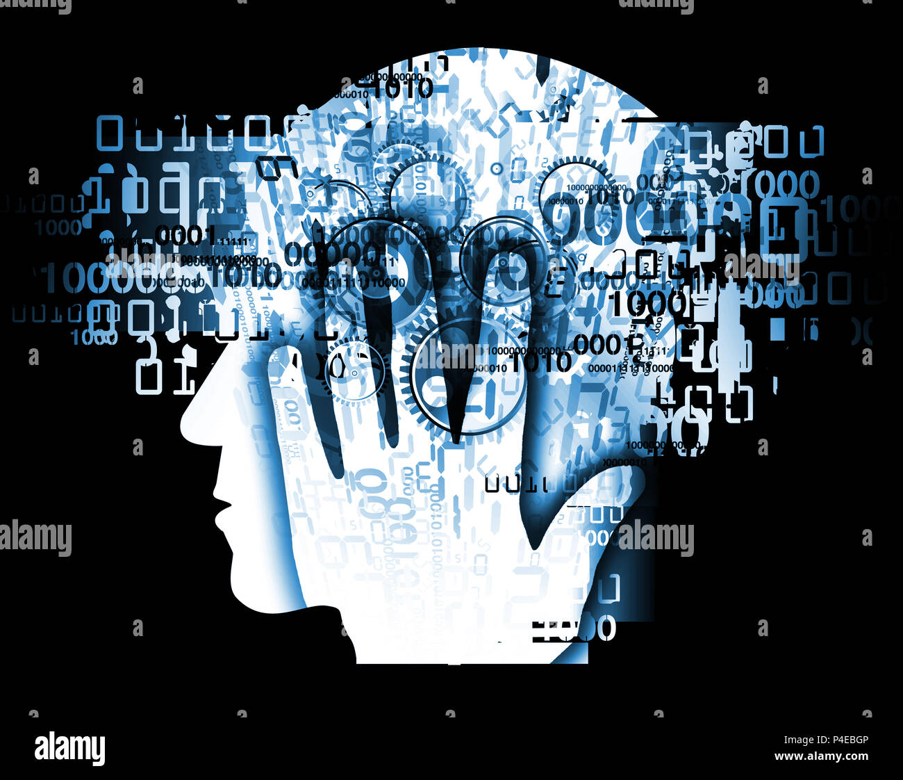 Burn out syndrome,Stress Overworked man. Stylized male head silhouette holding his head, with binary codes and gear - Stock Image