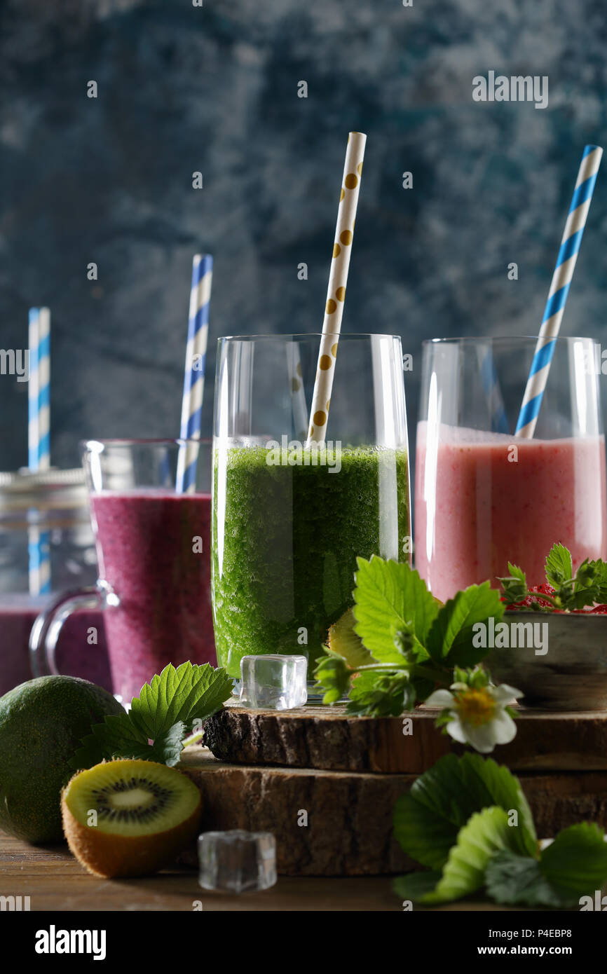 Fruits summer detox beverages, healthy lifestyle - Stock Image