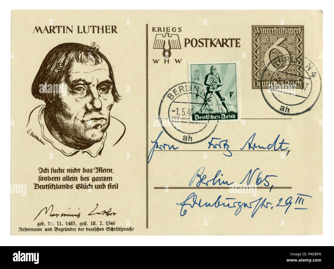 German historical postal card: Martin Luther, 'Winter Relief' Series Outstanding personalities of Germany, issue 1939, world war two, Third Reich - Stock Image