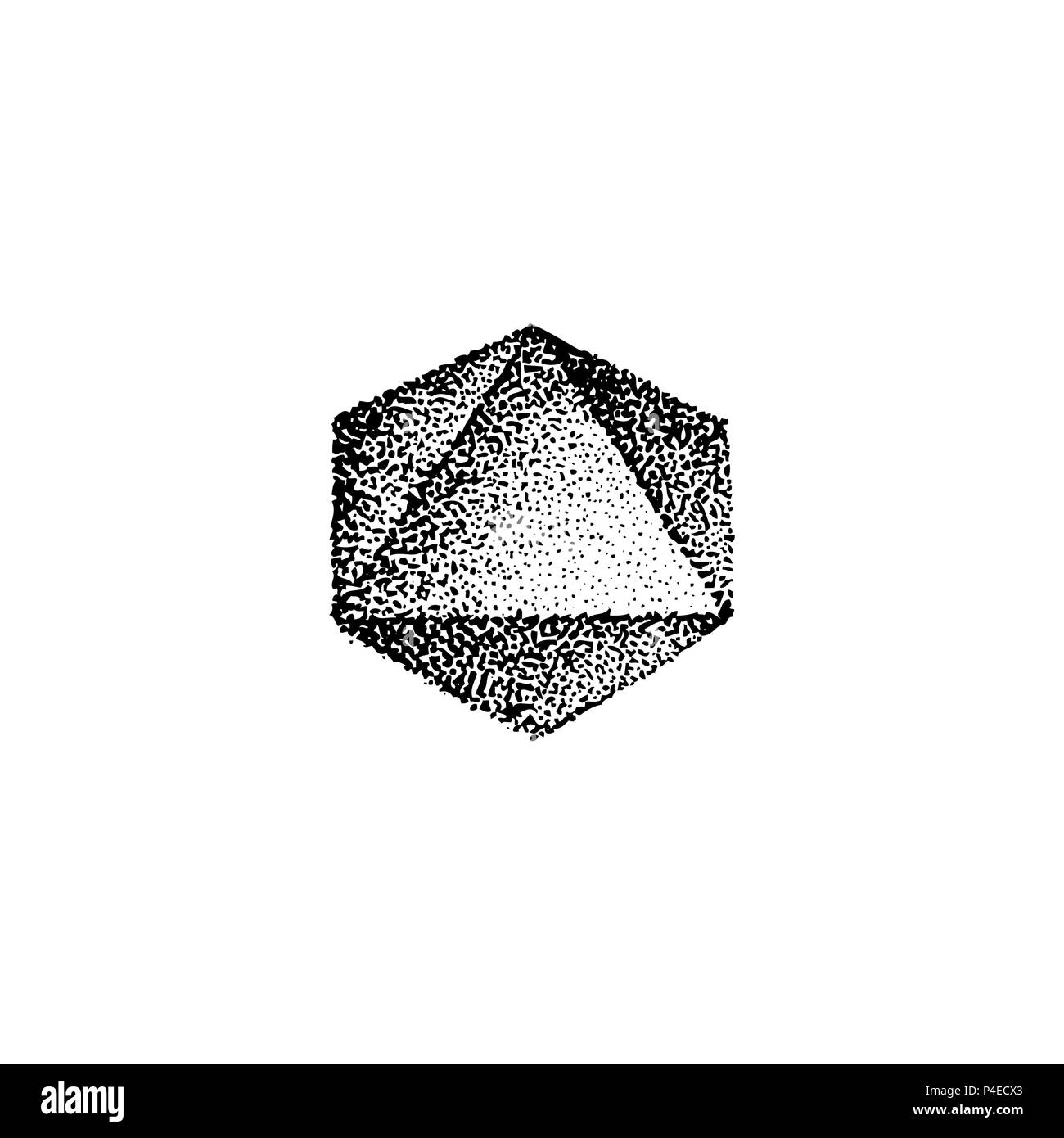 3afc335c69d79 vector monochrome black retro dot art hand drawn octahedron geometric  volumetric blackwork design element vintage tattoo