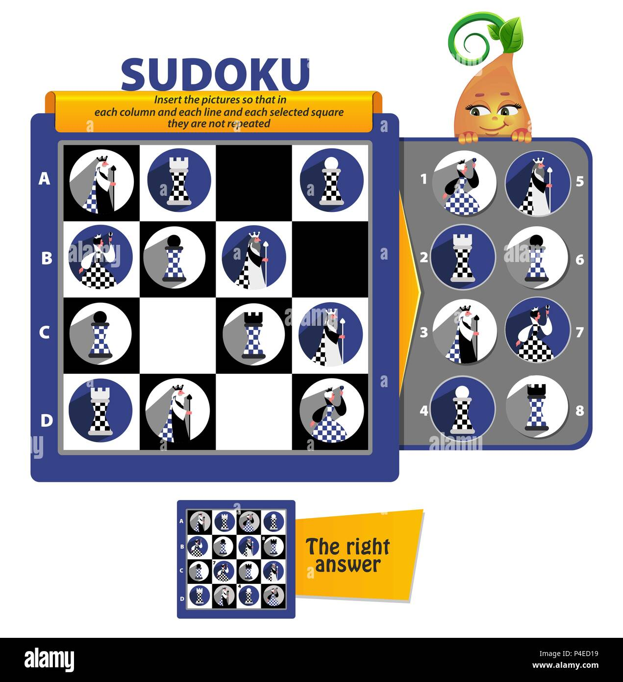 Sudoku Game For Children And Adults Educational Game For Kids Puzzle Development Of Logic Iq Stock Vector Image Art Alamy