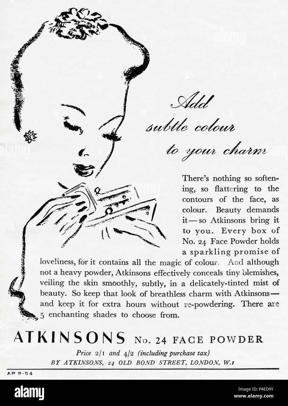 1940s old vintage original advert advertising Atkinsons No 24 Face Powder in English magazine circa 1946 when supplies were still restricted under post-war rationing - Stock Image