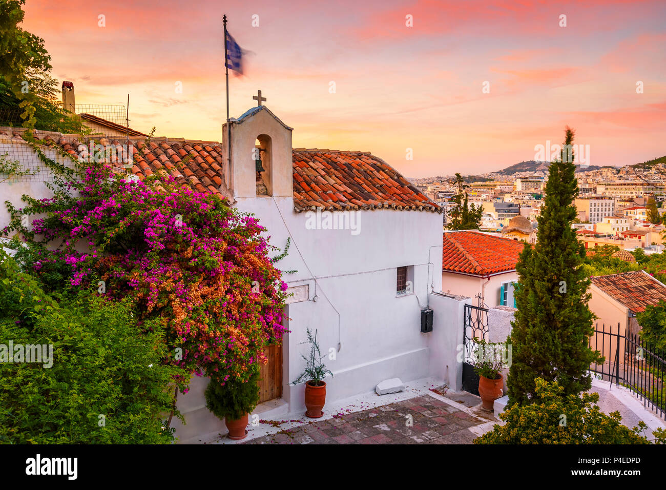 Church in Anafiotika neighborhood in the old town of Athens, Greece. - Stock Image