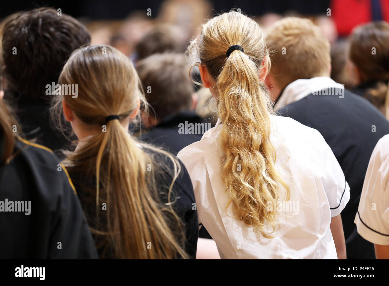 high school teenage students boys and girls in uniform sitting listening at assembly or presentation. Teaching, learning, teacher, education education - Stock Image