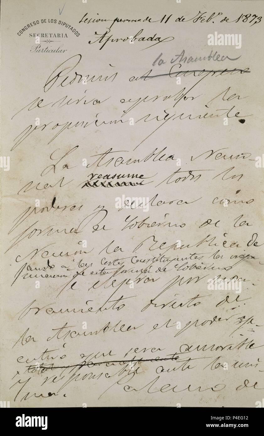 BORRADOR DE PROCLAMACION DE LA PRIMERA REPUBLICA ESPAÑOLA 11 FEBRERO 1873 - PRIMERA PAGINA. Location: CONGRESO DE LOS DIPUTADOS-BIBLIOTECA, MADRID, SPAIN. Stock Photo