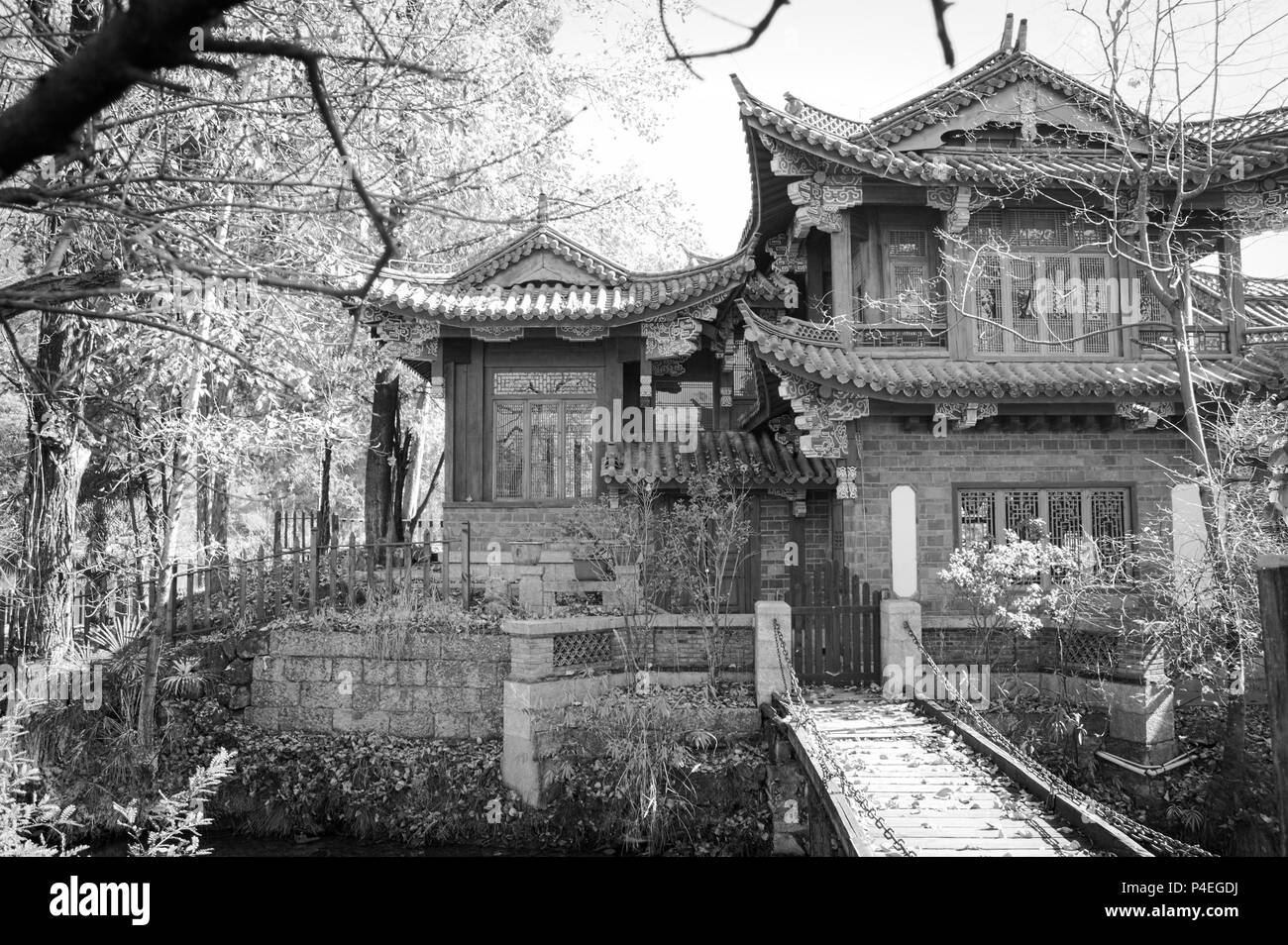 Architecture of a Buddhist Temple (Lijiang, Yunnan, China) - Stock Image