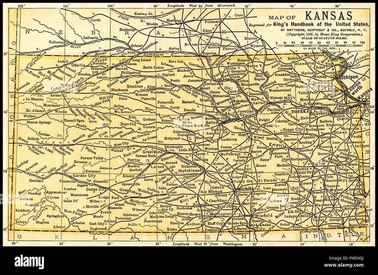 Kansas Antique Map 1891: Map of Kansas from an 1891 guidebook ...