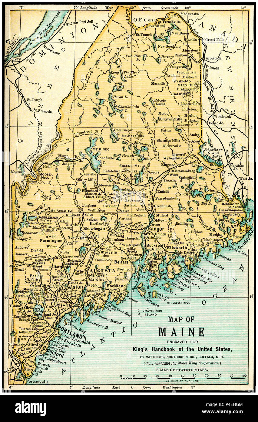 Maine Antique Map 1891: Map of Maine from an 1891 Guidebook ...