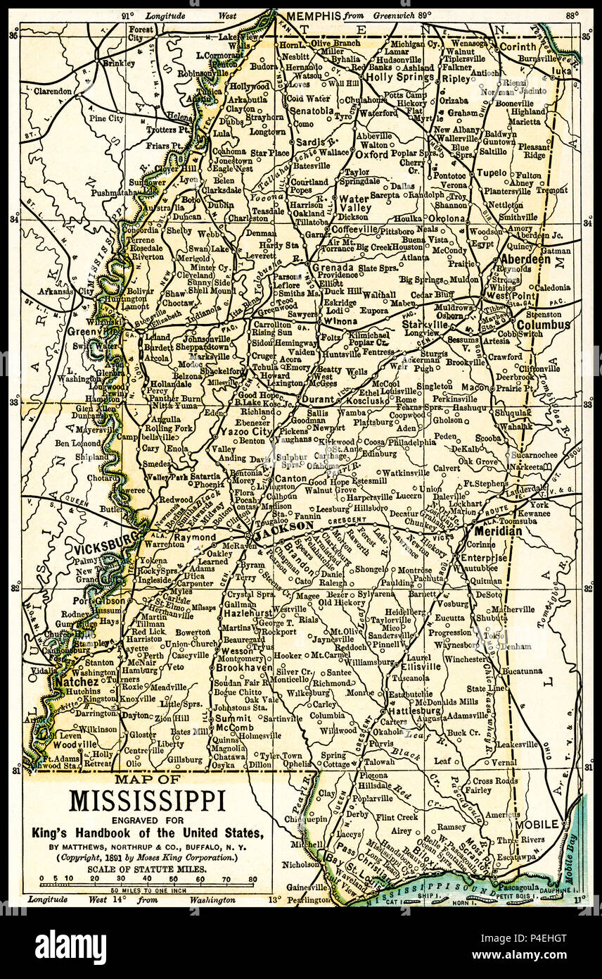 Course of c1880 old antique vintage map plan chart MISSISSIPPI