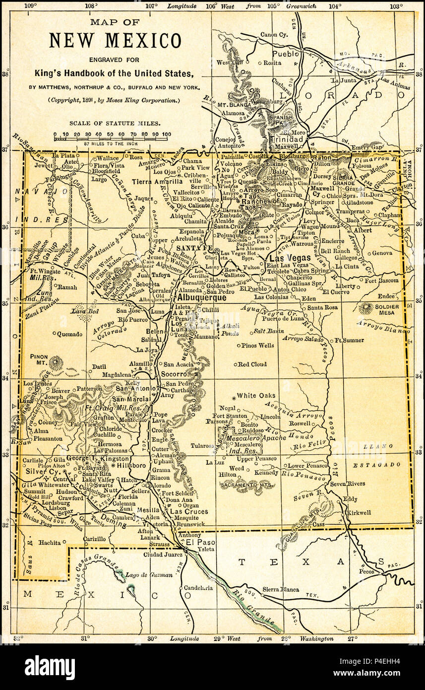 new mexico territory antique map 1891 map of territory of new mexico from an 1891
