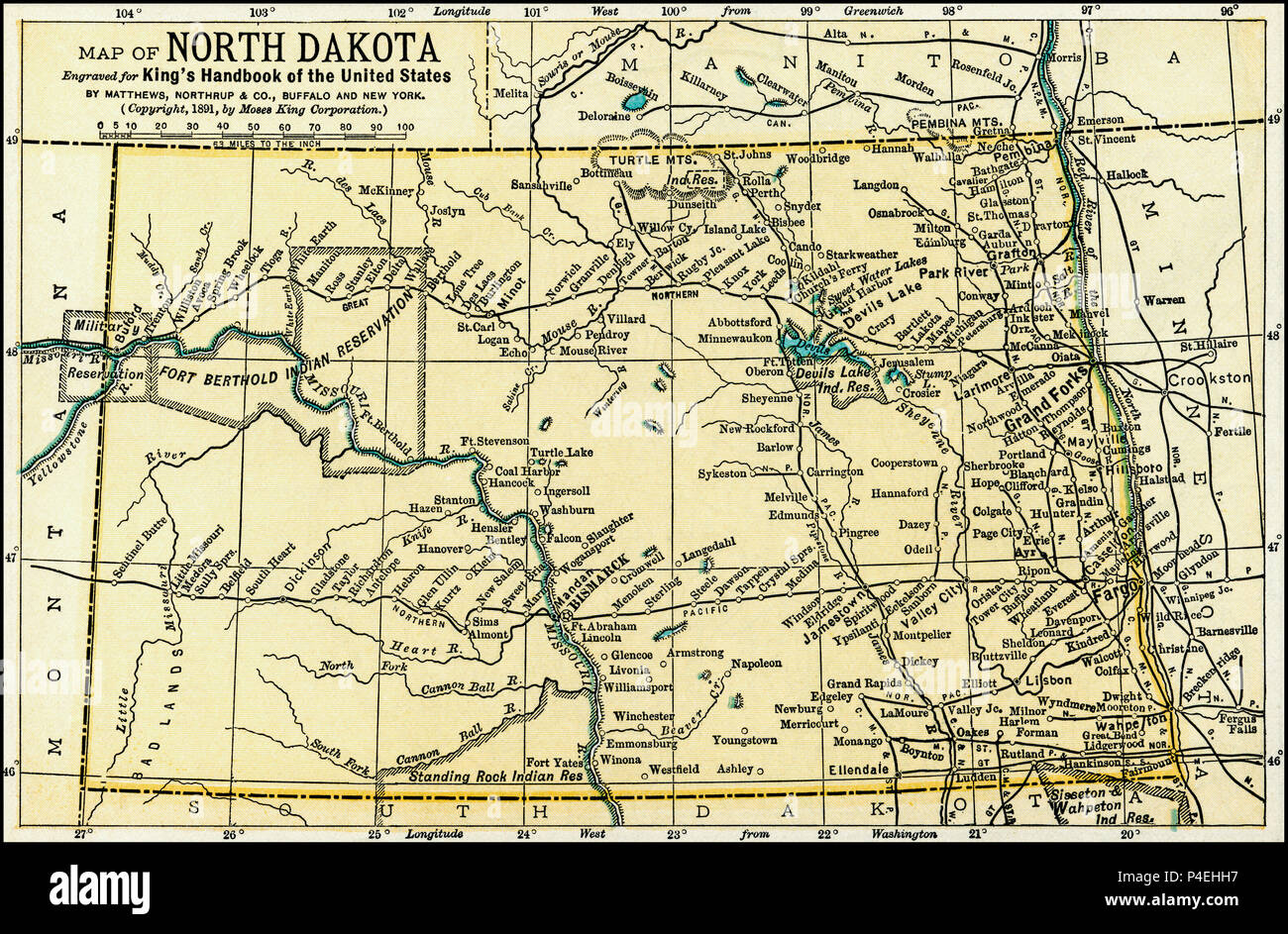 From North Dakota Antique Map 1891: Map of North Dakota (just before ...