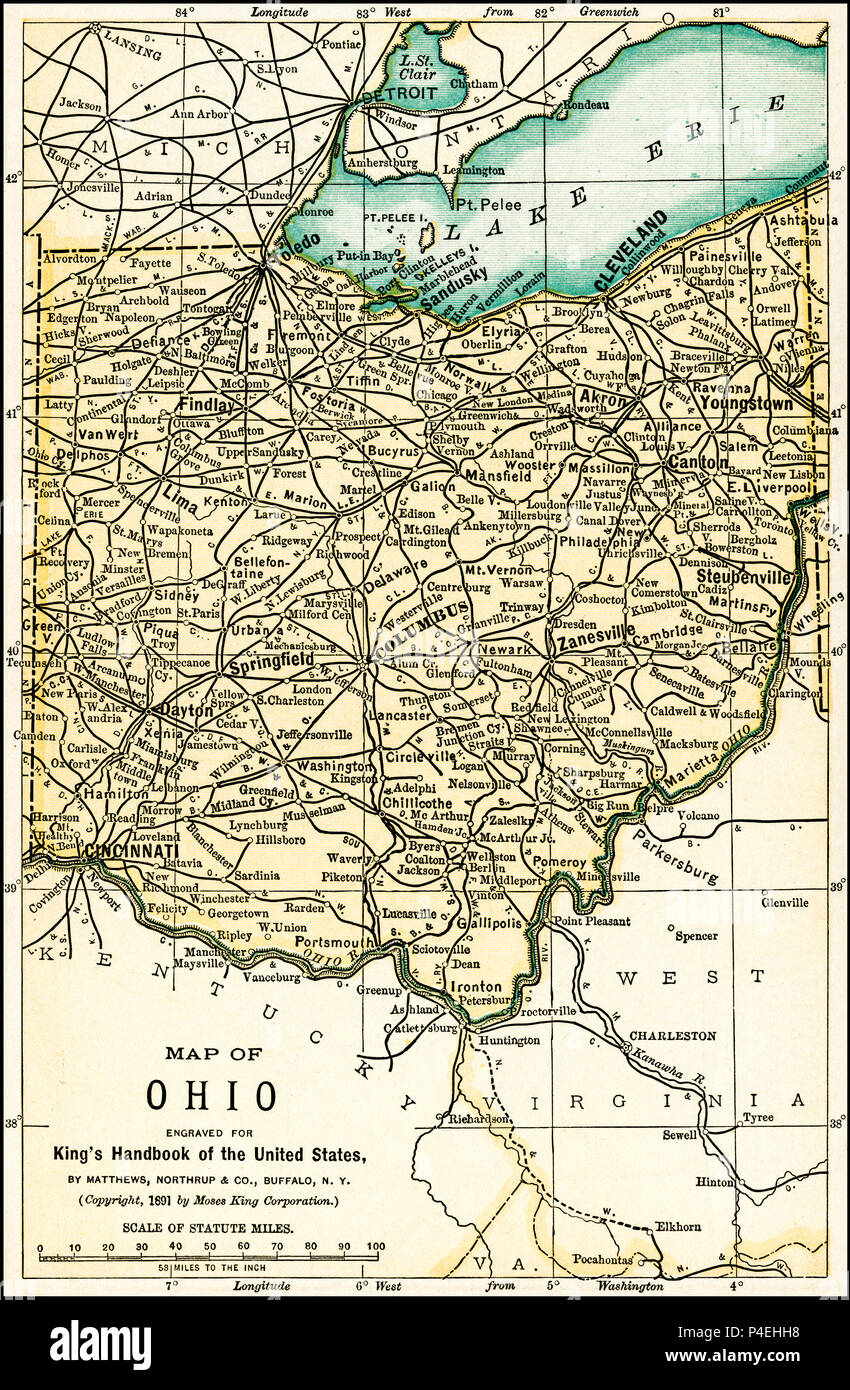Map Of Ohio Stock Photos & Map Of Ohio Stock Images - Alamy