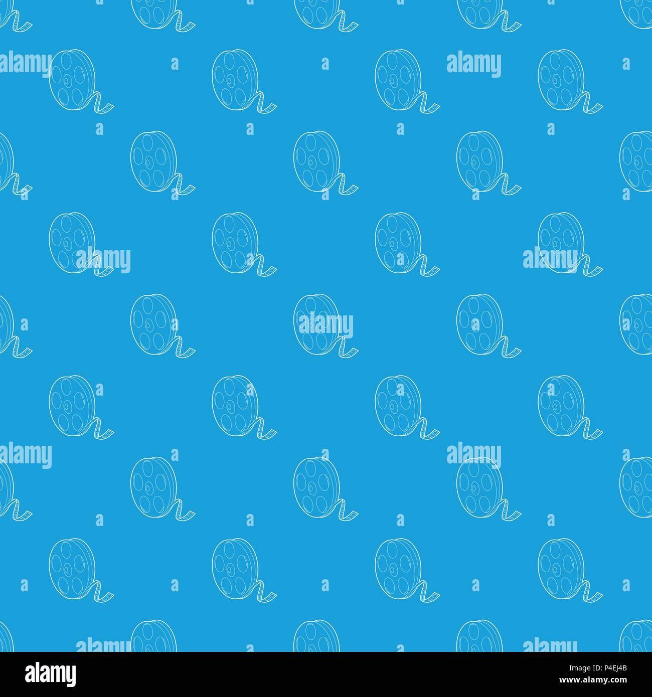 Reel pattern vector seamless blue - Stock Image