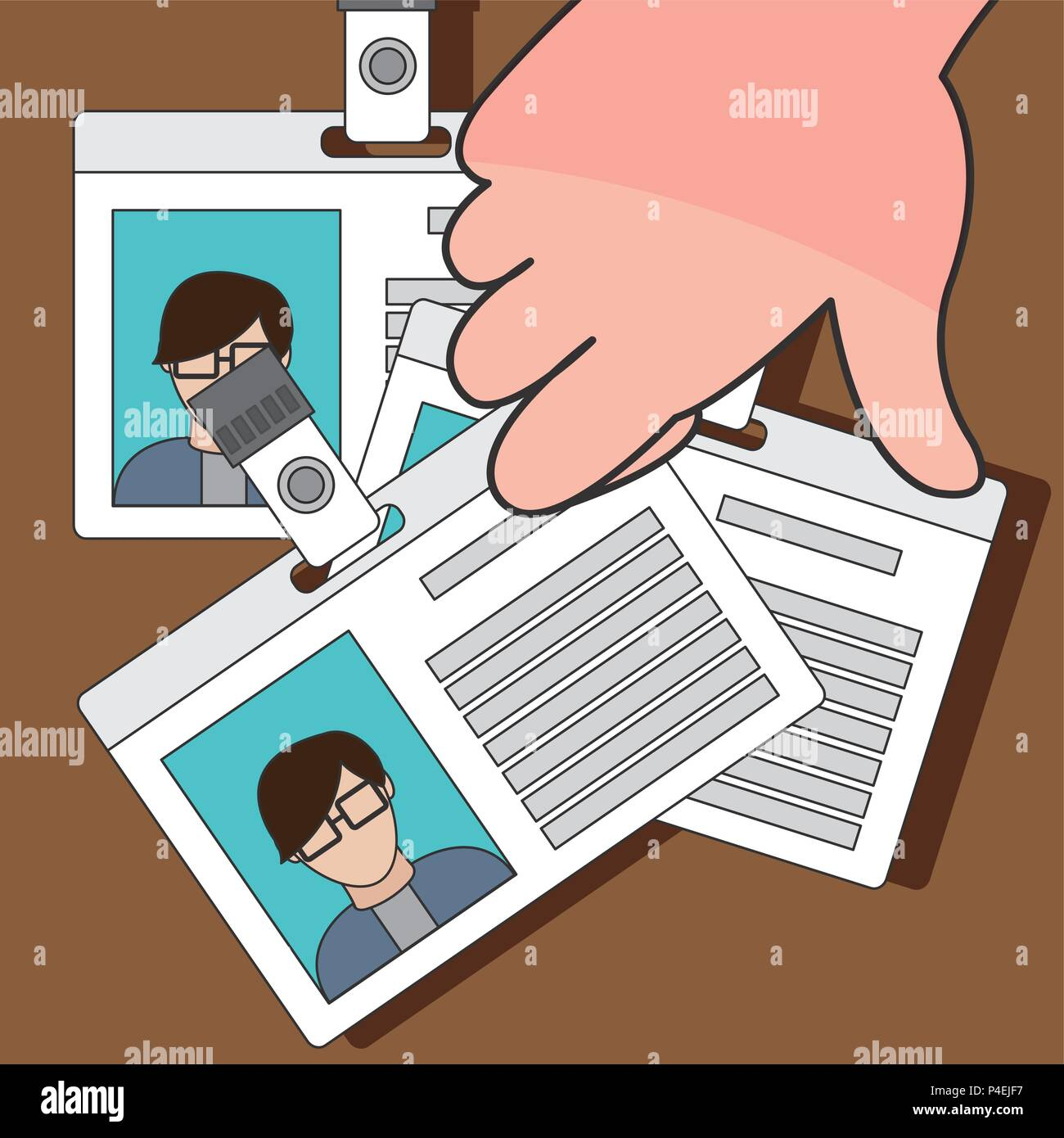 Hand stealing id - Stock Vector