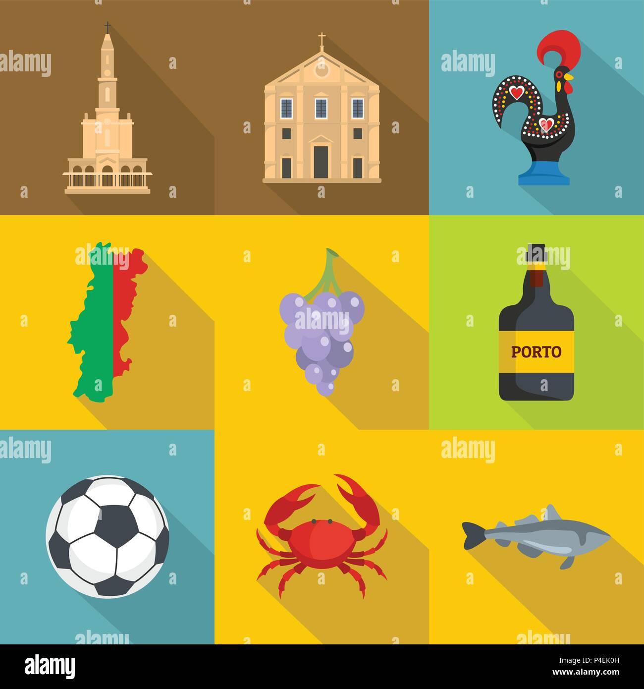 Portuguese language icons set, flat style Stock Vector