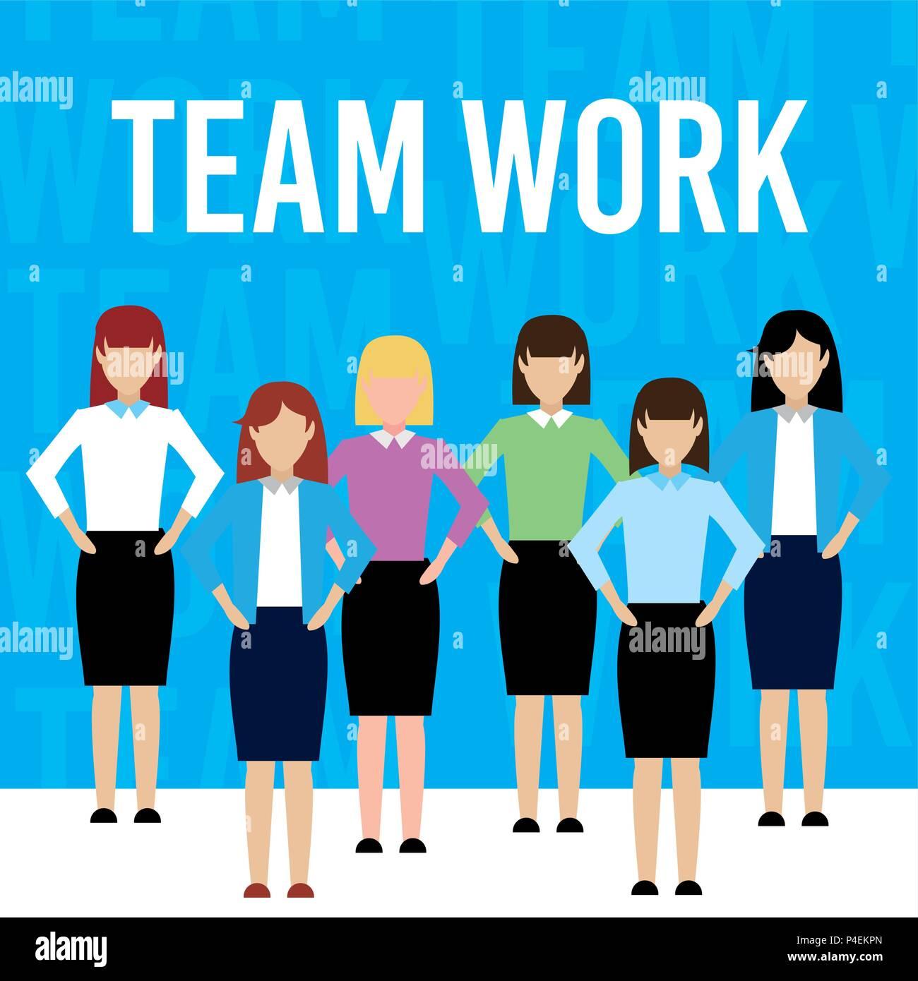 womens teamwork cartoon - Stock Image