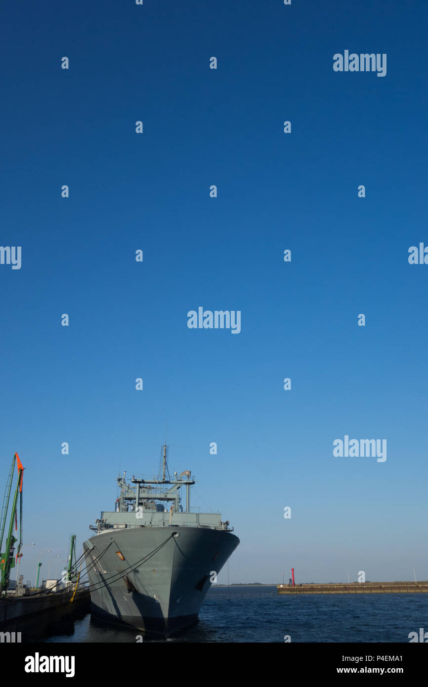 A German navy frigate alongside in a harbour - Stock Image