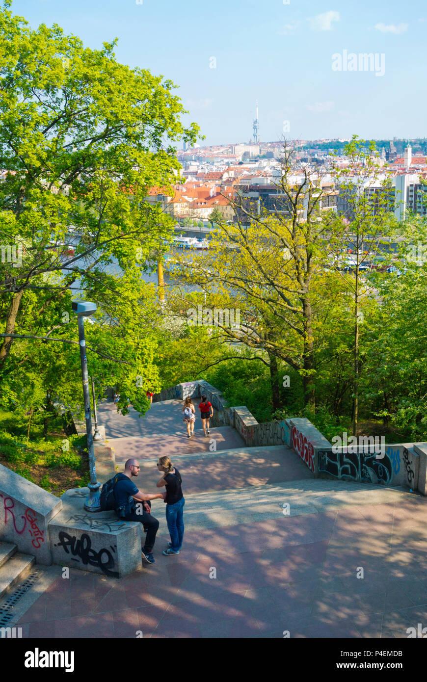 Steps leading from riverfront to the Metronome, Letenske sady, Letna park, Prague, Czech Republic - Stock Image