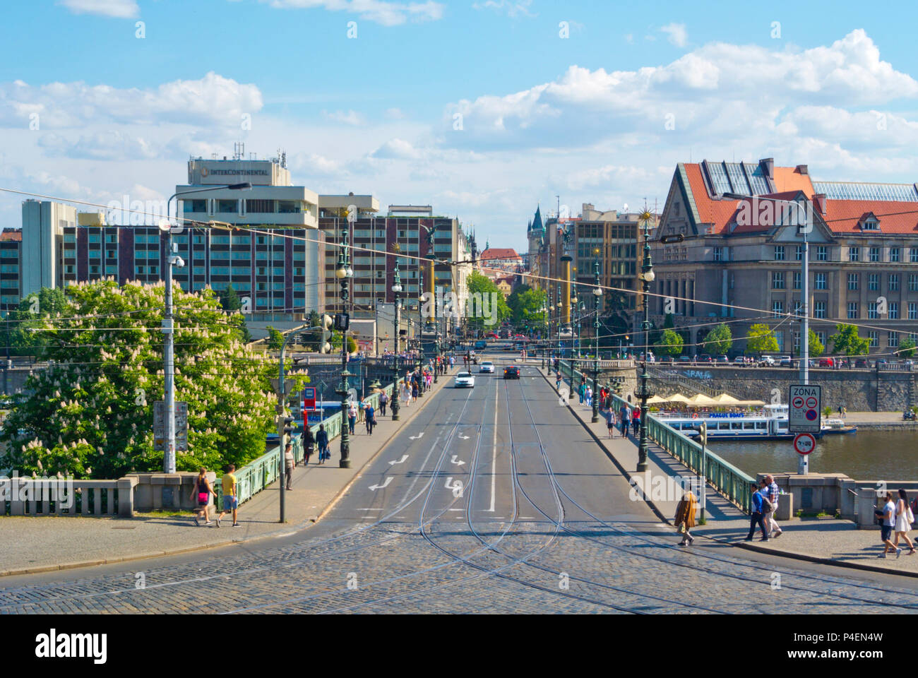 Cechuv most, between Metronome and old town, Prague, Czech Republic - Stock Image