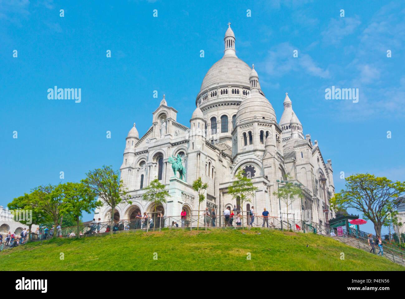 Basílica de Sacre Cœur, Montmartre, Paris, France - Stock Image