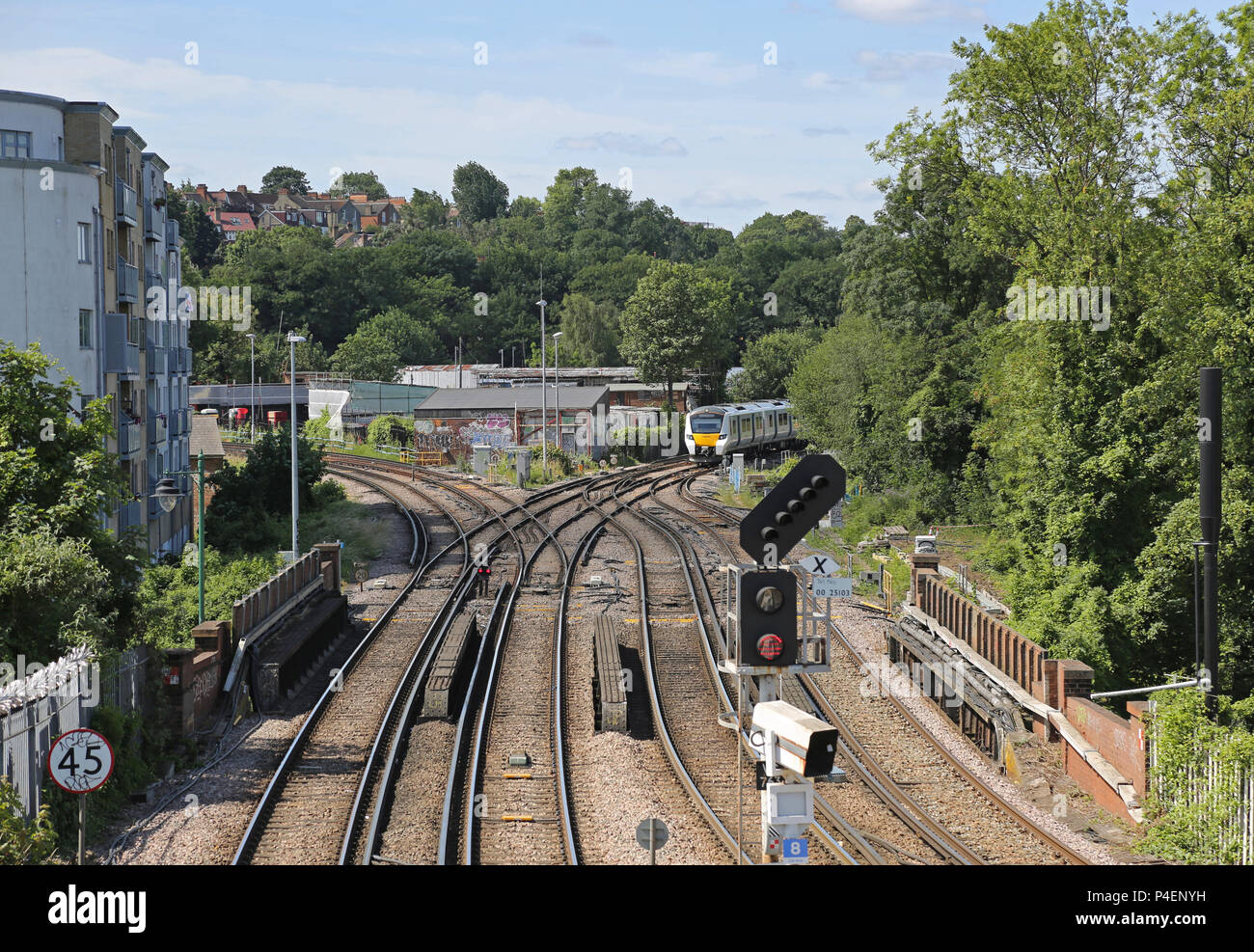 Railway junction west of Tulse Hill Station in south London, UK. Part of the suburban rail network. Shows a new Thameslink train approaching. - Stock Image