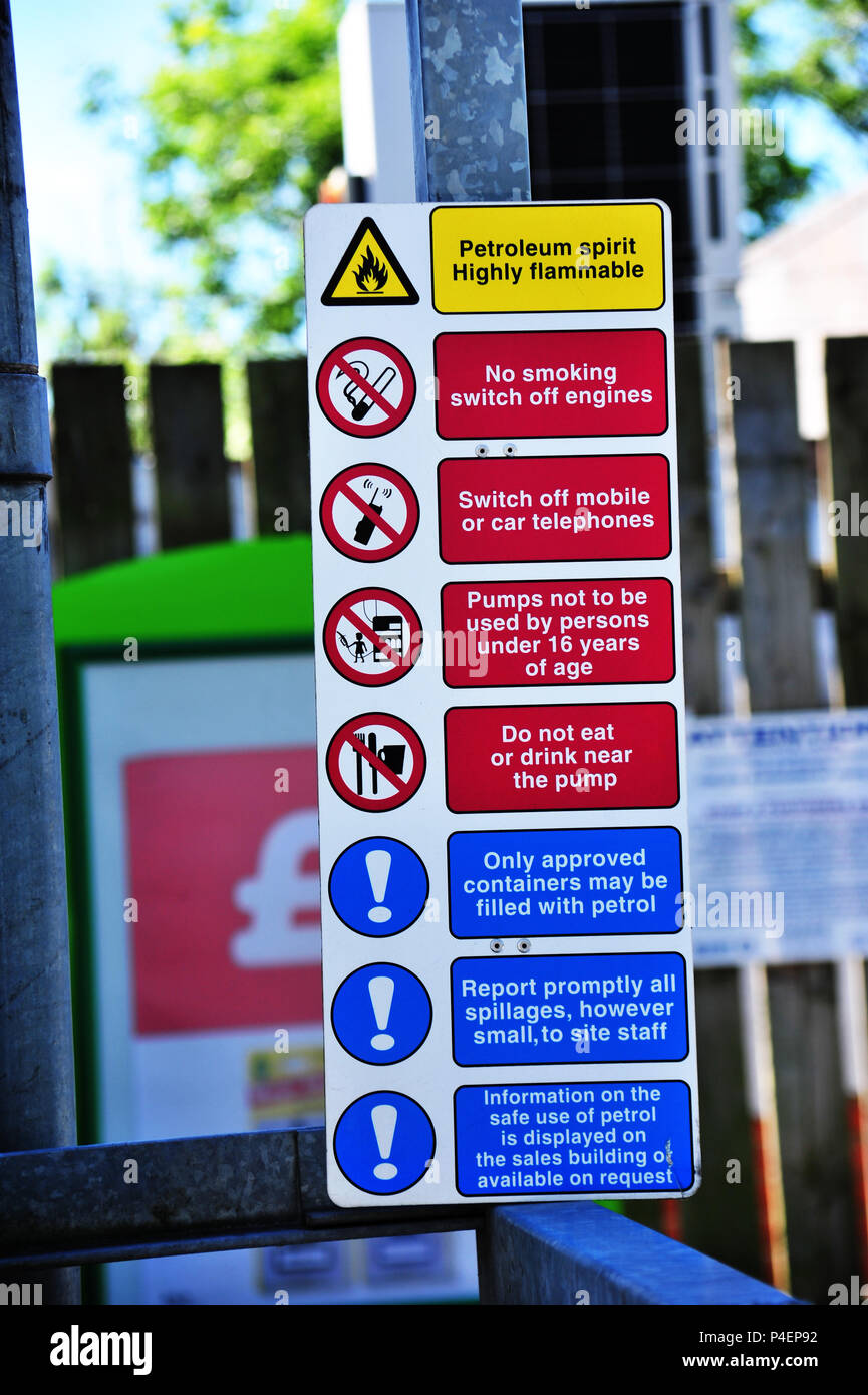 Petrol station warning signs, instructions and rules on the fuel